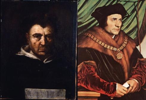 """Respectivement de gauche à droite : Tommaso Campanella, auteur de  """"La Cité du Soleil"""" et Thomas More, auteur d'""""Utopia"""""""
