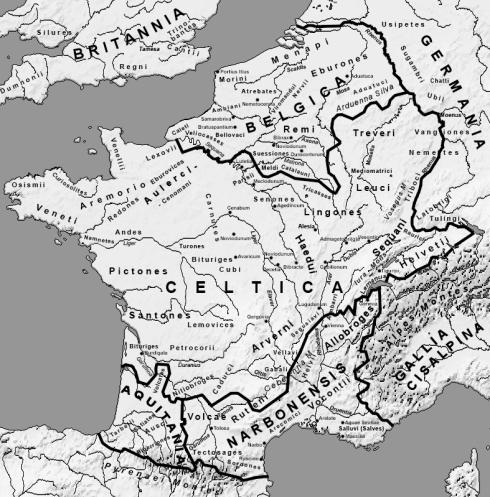 Reconstitution cartographique de la Gaule Celtique