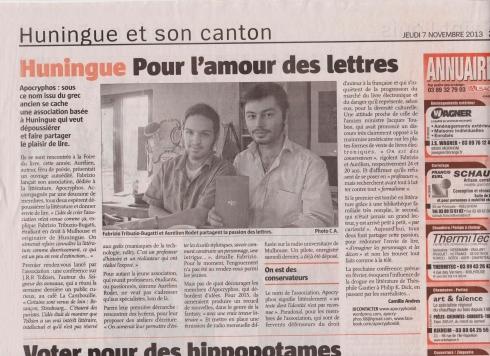 Article paru dans l'Alsace du 7 Novembre 2013