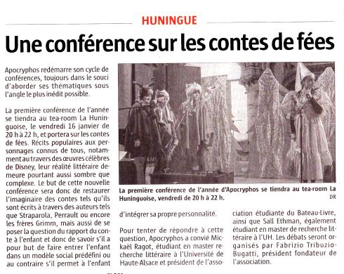 Éditions du journal l'Alsace du 14.01.2015 sur la conférence sur les Contes de Fées