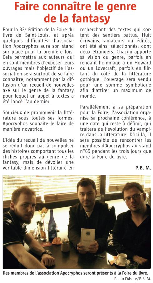 Article L'Alsace 23.04.2015