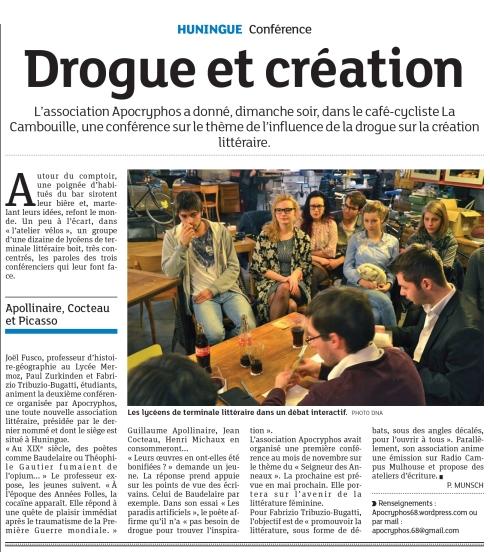 """Éditions des Dernières Nouvelles d'Alsace du 25.02.2014 suite à la conférence """"Sexe, drogue et Littérature"""""""