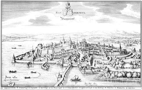 Illustration de la ville suisse de Rapperswyl qui sert d'inspiration à Wastburg