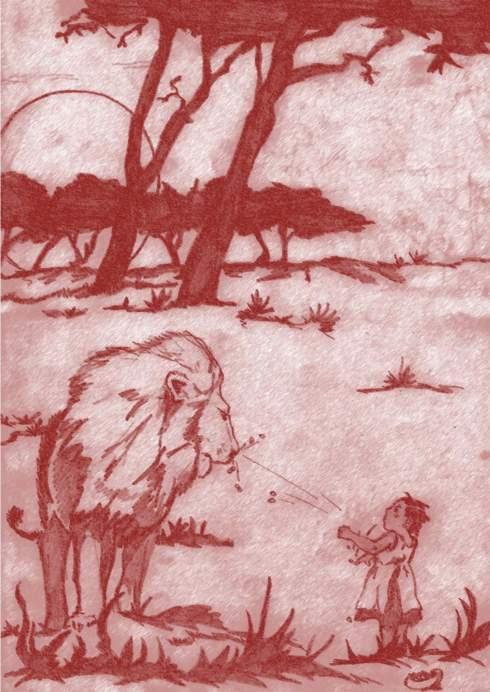 La petite fille, les nioules et le lion
